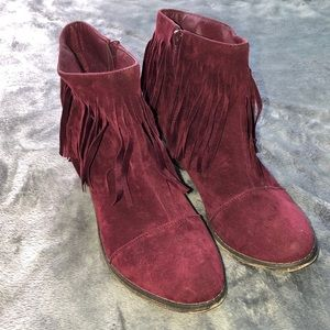 Burgundy fringe ankle booties size 10